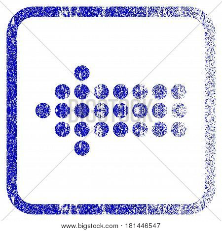 Dotted Arrow Left textured icon for overlay watermark stamps. Blue vectorized texture. Flat vector symbol with dust design inside rounded square frame. Framed blue rubber seal stamp imitation.