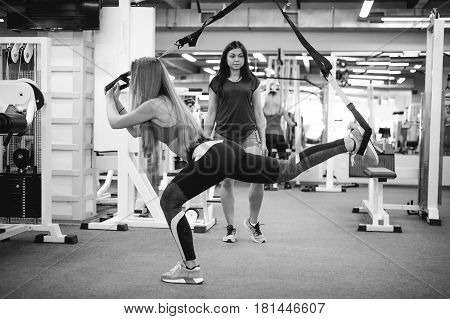 Beautiful Athletic Woman Doing Exercise With Trx System. Young Woman Exercising With Suspension Trai