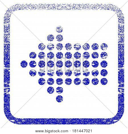 Dotted Arrow Left textured icon for overlay watermark stamps. Blue vectorized texture. Flat vector symbol with unclean design inside rounded square frame. Framed blue rubber seal stamp imitation.