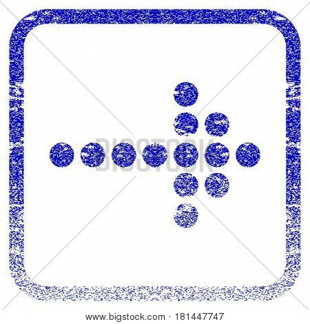 Dotted Arrow Right textured icon for overlay watermark stamps. Blue vectorized texture. Flat vector symbol with dirty design inside rounded square frame. Framed blue rubber seal stamp imitation.