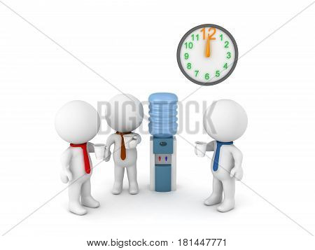 3D Illustration of office workers sitting around the water cooler during the luch break. The clock above them is showing 12 noon.