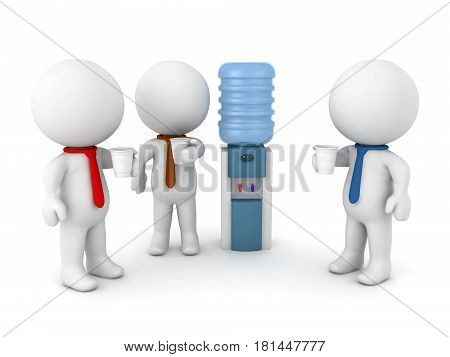 3D Illustration of office workers talking by the water cooler. Image depicting average office situation.