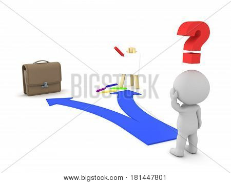 3D Character shown two choices - Passion dream or Job Career. This image depicts the modern dilema of either pursuing your dreams or having a job.