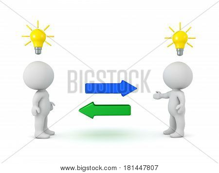Two 3D Characters exchanging idea. Image depicting how to people exchange two concepts.