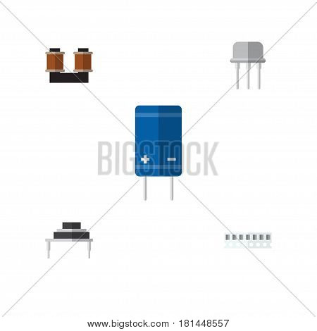 Flat Technology Set Of Resist, Memory, Transistor And Other Vector Objects. Also Includes Coil, Copper, Transistor Elements.