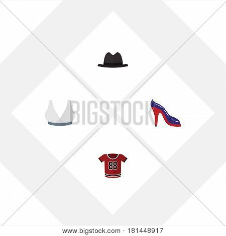 Flat Clothes Set Of Heeled Shoe, Panama, Brasserie And Other Vector Objects. Also Includes Sport, Panama, Breast Elements.
