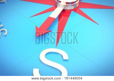 Silver compass with windrose, emblem of compass close-up, with DOF effect, 3d rendering