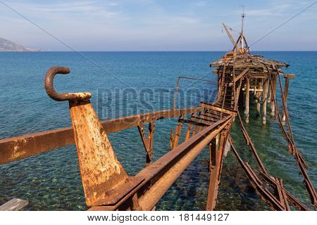 Derelict Pier at Xeros old Mining Port Cyprus in Landscape