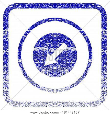 Down-Left Rounded Arrow textured icon for overlay watermark stamps. Blue vectorized texture. Flat vector symbol with unclean design inside rounded square frame.