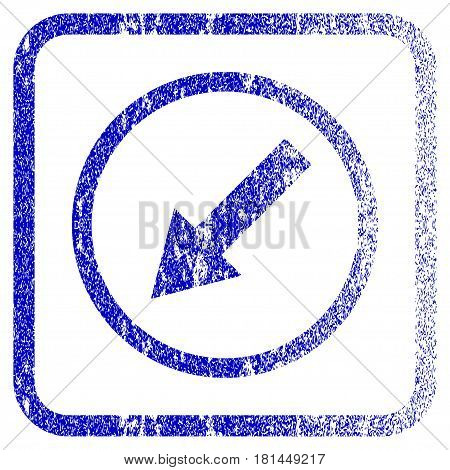 Down-Left Rounded Arrow textured icon for overlay watermark stamps. Blue vectorized texture. Flat vector symbol with dust design inside rounded square frame. Framed blue rubber seal stamp imitation.