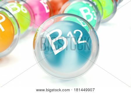 Vitamin B12, isolated on white background. Symbol of health and longevity. 3d rendering