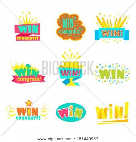 Win Congratulations Stickers Collection Of Comic Designs For Video Game Winning Finale. Set Of Graphic Flat Vector Messages With Text Saying Win Congrats And Victory Symbols