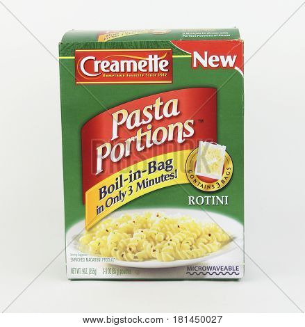 Spencer Wisconsin April 13 2017 Box of Creamette Rotini Pasta Portions Creamette is an American based Pasta company founded in 1912