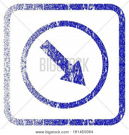 Down-Right Rounded Arrow textured icon for overlay watermark stamps. Blue vectorized texture. Flat vector symbol with dust design inside rounded square frame. Framed blue rubber seal stamp imitation.