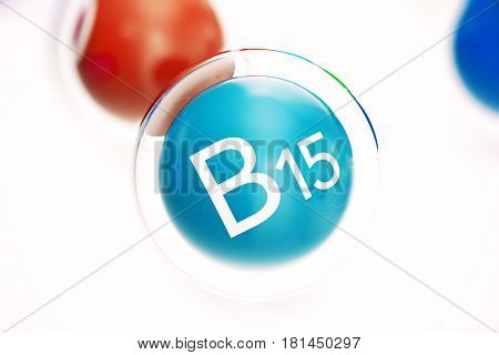 Vitamin B15 , isolated on white background. Symbol of health and longevity. 3d rendering
