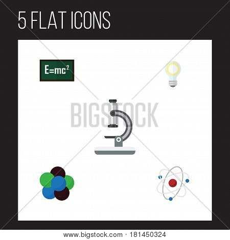Flat Science Set Of Orbit, Glass, Proton And Other Vector Objects. Also Includes Theory, Optical, Bulb Elements.