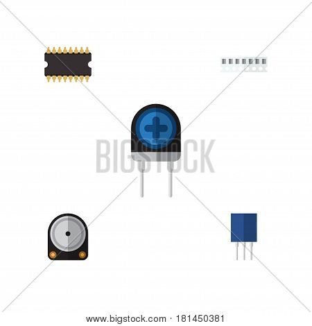 Flat Technology Set Of Receptacle, Microprocessor, Hdd And Other Vector Objects. Also Includes Central, Unit, Drive Elements.