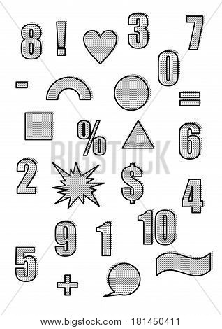 Retro shapes and figures in the vintage pop art style of the 90s. Outline and black polka dot white background. Set of vector illustration. Abstract forms and design elements. Comic cartoon expression
