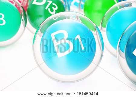 Vitamin B1, group of organic substances, food additive, isolated, on white background. 3d rendering
