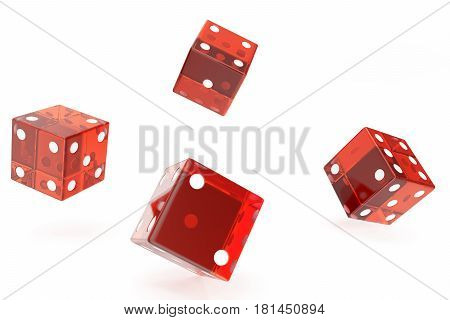 Red Casino dice, concept of gambling, on white background. 3d rendering
