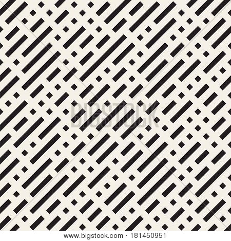 Irregular Maze Shapes Tiling Contemporary Graphic. Abstract Geometric Background Design. Vector Seamless Black and White Pattern.
