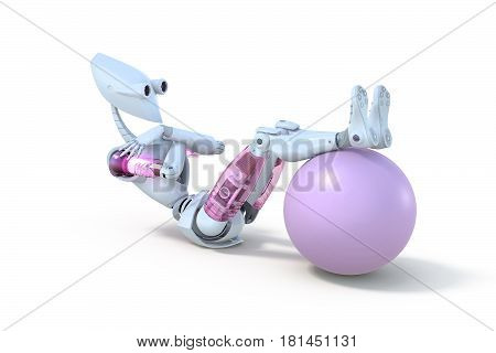 3d render of a female robot doing sit ups with an exercise ball against a white background.