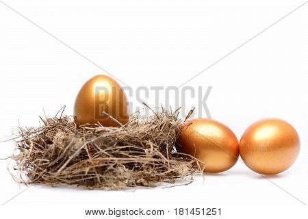Traditional Eggs Painted In Golden Color Inside Nest