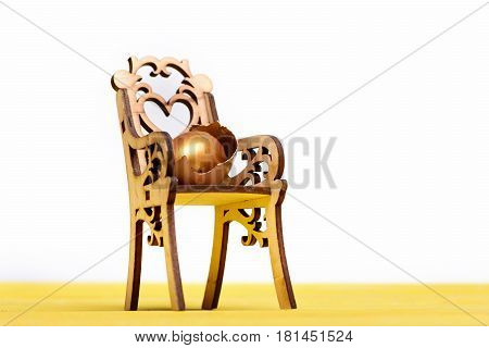 Easter Golden Egg On Wooden Chair, Future Life, Healthy Food