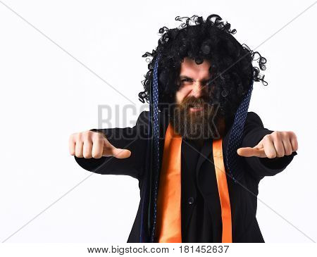 Caucasian Hipster In Suit And Black Curly Wig