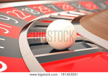 Casino Roulette Game. Casino Gambling. Concept 3D rendering. The Wheel of Fortune