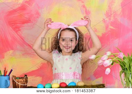 Happy Easter Girl In Bunny Ears With Pencils, Eggs, Flowers