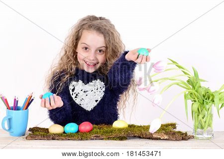 Happy Easter Girl With Pencils, Colorful Eggs And Tulip Flowers