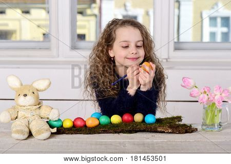 Happy Girl Painter, Rabbit Toy, Pencil, Tulip Flowers, Easter Eggs