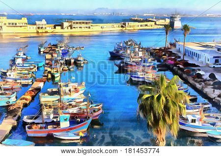 Port Algiers colorful painting, Algiers Province, Algeria