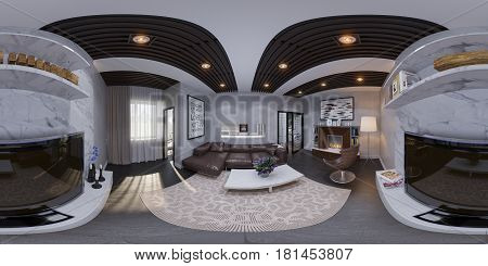 3d illustration of the interior design of the living room. The style of the apartment is modern in gray and white colors. Render is executed, 360 degree spherical seamless panorama for virtual reality.