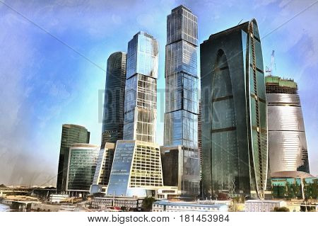 Colorful painting of Moscow International Business Center, Moscow-City