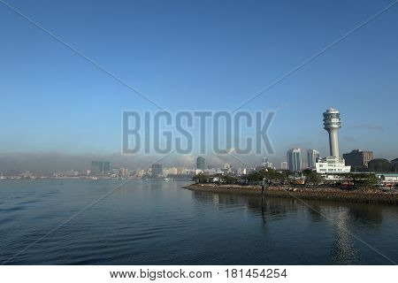 The port of Daressalam in the smog