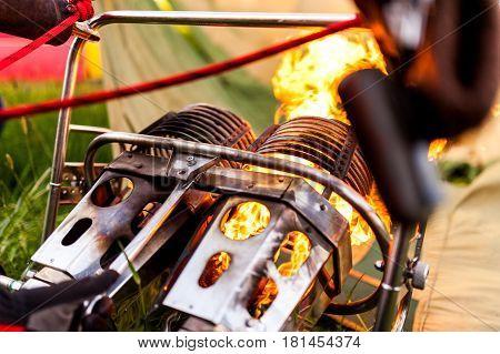 Close-up view to hot air balloon burner