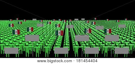 Crowd of people with signs and Mexican flags 3d illustration