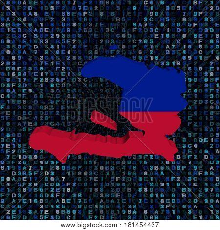 Haiti map flag on hex code 3d illustration