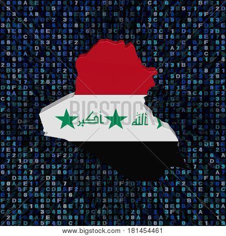 Iraq map flag on hex code 3d illustration