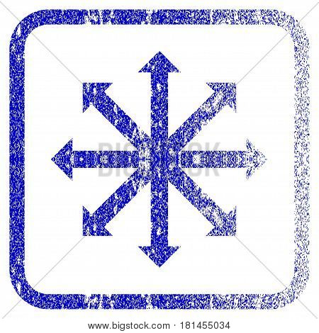 Expand Arrows textured icon for overlay watermark stamps. Blue vectorized texture. Flat vector symbol with dirty design inside rounded square frame. Framed blue rubber seal stamp imitation.