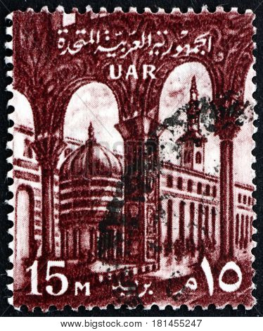 EGYPT - CIRCA 1959: a stamp printed in Egypt shows Omayyad Mosque Damascus circa 1959