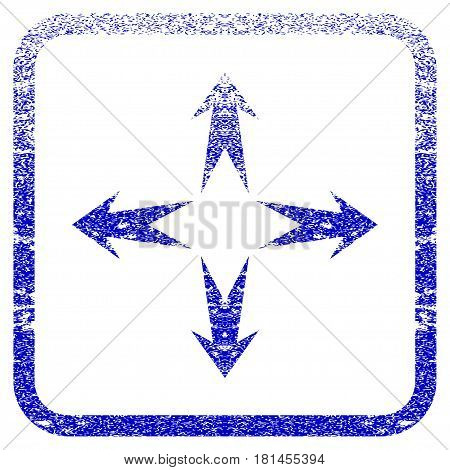 Expand Arrows textured icon for overlay watermark stamps. Blue vectorized texture. Flat vector symbol with scratched design inside rounded square frame. Framed blue rubber seal stamp imitation.