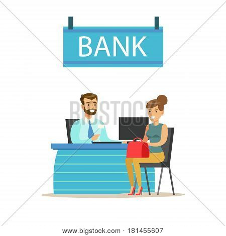 Bank Manager At His Desk And The Client. Bank Service, Account Management And Financial Affairs Themed Vector Illustration. Smiling Cartoon Characters In Bank Office Interior Vector Illustration.