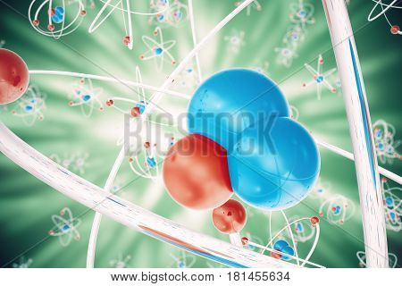 Abstract atom background, Chemistry model of molecule. atoms and electrons. Physics concept, 3d rendering