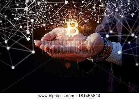 Businessman With Hands Offers Bit Coin .