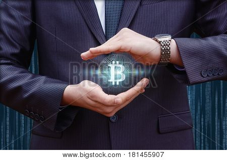 Businessman Protects The Bit Coin .