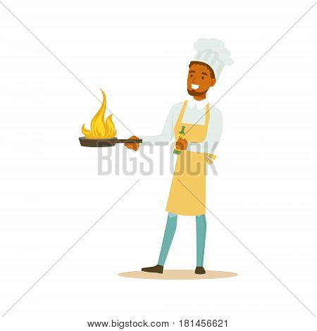 Man Professional Cooking Chef Working In Restaurant Wearing Classic Traditional Uniform With Burning Frying Pan Cartoon Character Illustration