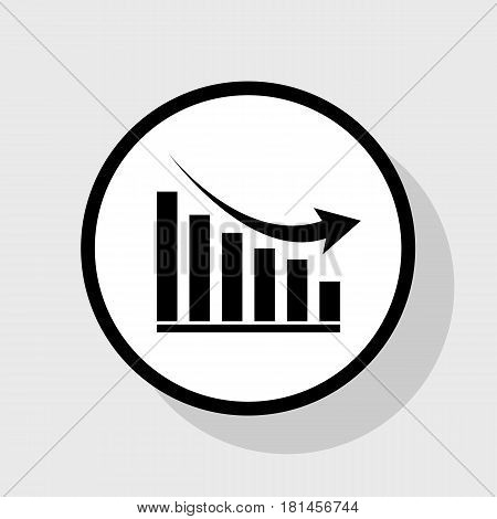 Declining graph sign. Vector. Flat black icon in white circle with shadow at gray background.